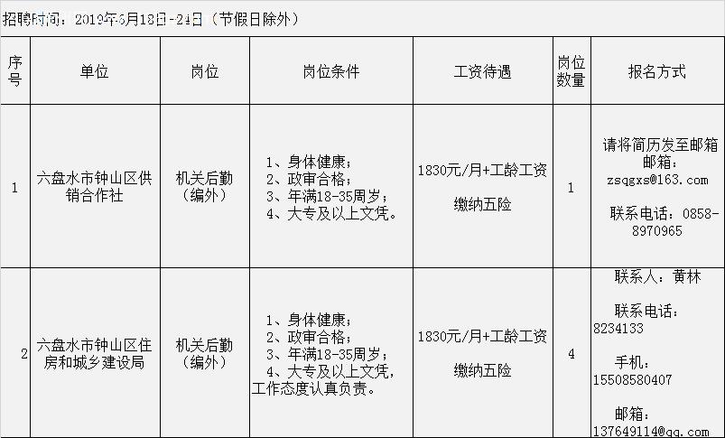 2019年六盤水鐘山區招聘編外人員招聘表(6月18-24日報名)